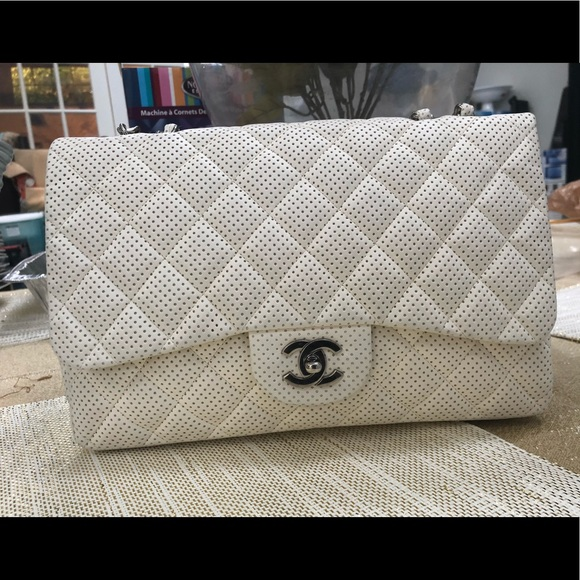 777600d57fd6 CHANEL Handbags - Chanel Lambskin Perforated Single Jumbo Flap SHW